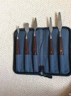 set of 5 artist palette knifts 1-5 in ziped case new