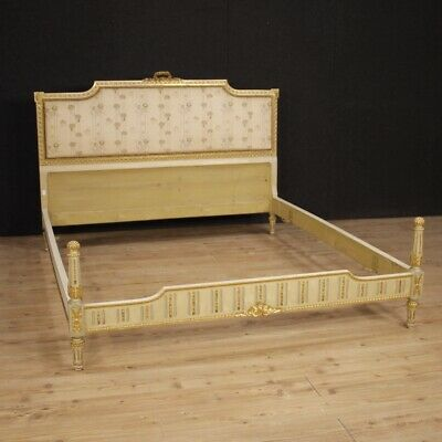Double Bed Lacquered Furniture Wooden Golden Antique Style Athlete 900