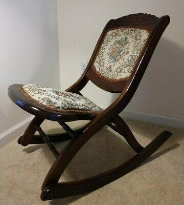 Vintage Victorian-Style Wooden Tapestry Folding Rocking Chair