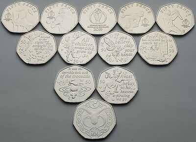 Every Isle of Man 50p coin issued in 2019, Peter Pan, Cricket & Ram - Circulated