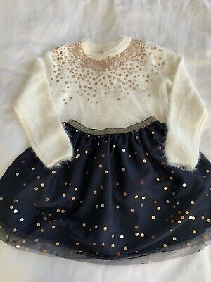 Brand New HM kids Sequin Jumper And Skirt - Perfect Christmas Outfit - Aged 4-6