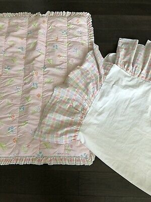 Laura Ashley Crib Nursery Girl Allie Pattern Plaid Pink Dust Ruffle Skirt