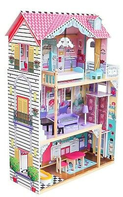 New Doll House Large Kids Play Wooden Mansion With Furniture Fits Barbie Girls