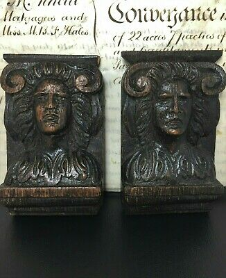 Antique Gothic Carved Oak Pair Figures Plaque Architectural Salvage 12cm x 7.3cm