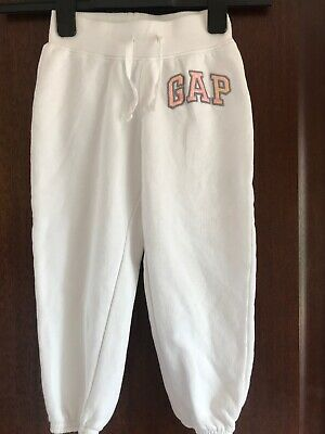 Gap Girls White Cropped 3/4 Joggers Hardly Worn Age 6-7