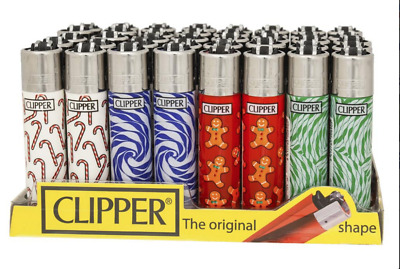 4 x Clipper Lighters CANDY PATTERN XMAS Gas Lighter RARE Refillable SET NEW**