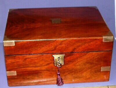 Antique Mahogany Brass Bound Sewing Box With Working Key