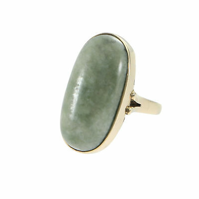 28CTW Oval Cabochon Jade Cocktail Ring 14k Yellow Gold Large Chunky