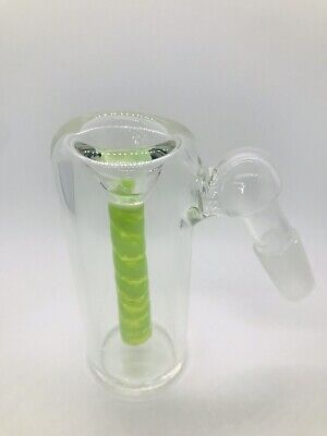 Glass Ash Catcher bowl 14mm Male 45 Degree Green Slime Color Downstem  Fixed
