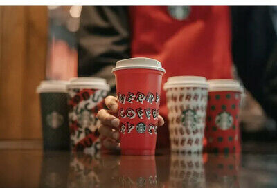 Starbucks 2019 Red Reusable Cup IN HAND 16oz MERRY COFFEE Christmas .50 OFF DISC