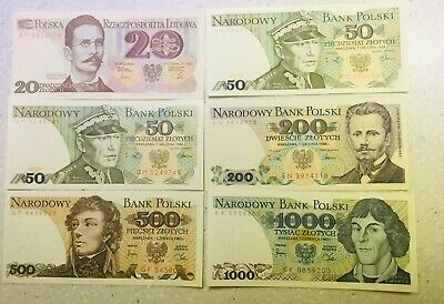 Extremley fine -AUnc Poland Banknotes 1982-1988