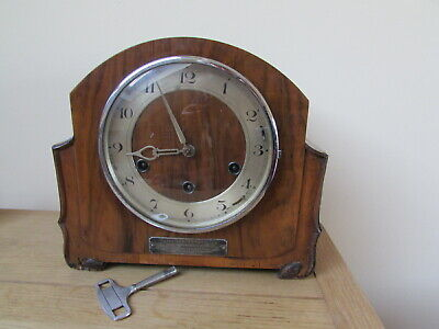 antique chiming clock walnut case Ilford Football Club silver plaque working