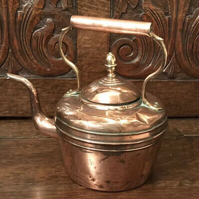 Copper And Brass Vintage Kettle With Swan Neck Spout,Ornament