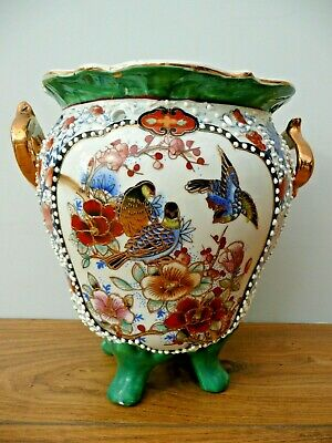 Old CHINESE Moriage POTTERY HAND PAINTED Gilt BIRDS Enamel Planter Green Satsuma