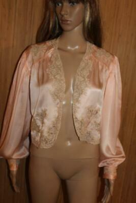 VTG 1930s PEACH 100% PURE SILK & LACE, BED JACKET SIZE M