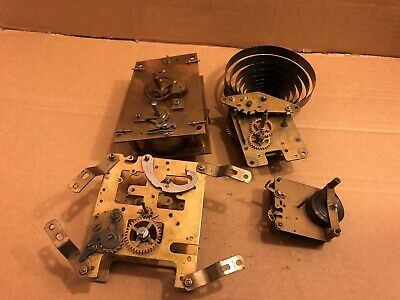 4 x Vintage Clock Mechanism / Movement, For Spares / Repair Only