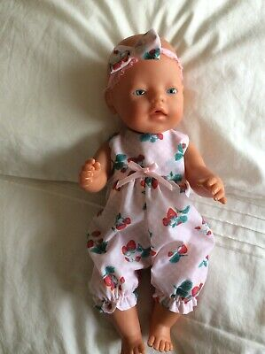 """Doll Clothes to fit 17"""" Baby Born doll ~ Jumpsuit/ Romper : Pink Strawberries"""
