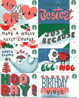 COMPLETE SET of 8 NEWEST 2019  DIFFERENT  ** STAR ** BACK HOLIDAY STARBUCKS CARD