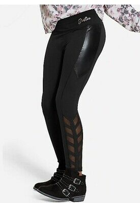 Nwt Justice Girls Black Shine And Mesh Leggings Size 10 12 14/16