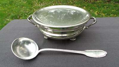 Gombault Food Bowl Warmer Alfenide Spoon Ladle Soup French Silver Plate Antique