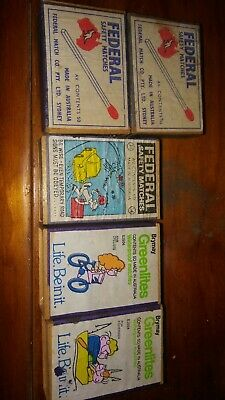 Vintage Match Boxes Matches Greenlites Federal x5