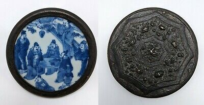 Antique Chinese Bronze Mirror with Blue White Porcelain Insert Seven Sages