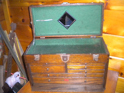 Vintage Wooden Machinest Tool Box  / Magestic Tool & Hardware Co.