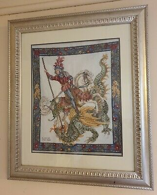 Completed Cross Stitch Dimensions Slaying the dragon with  Framed