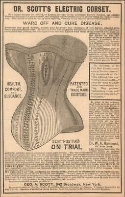 DR. SCOTTS ELECTRIC CORSET, wards off & cures disease, Quack Medical matted 1882