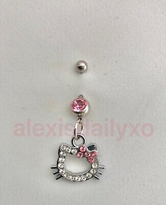 hippocampus Hello Kitty Sea horse Belly Ring Navel Ring 14G Surgical Steel