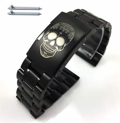 Steel Metal Bracelet Replacement Watch Band Strap Black Skull Collection #5016-6