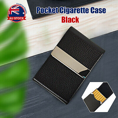 Black Stainless Steel+Pu Cigar Cigarette Tobacco Holder Case Pocket Pouch A