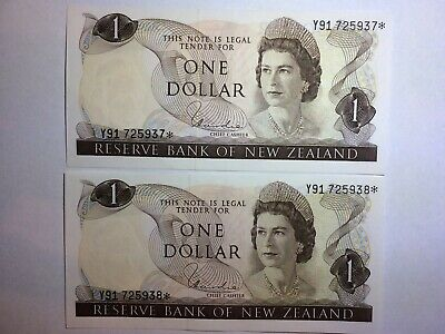New Zealand $1 Dollar 1975-77 STAR Replacement Note UNC - 2 x Consecutive Pair !