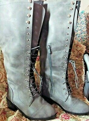 Silver Blue Steampunk Girls Boots, Size Eur 34, Tall, Brand New!