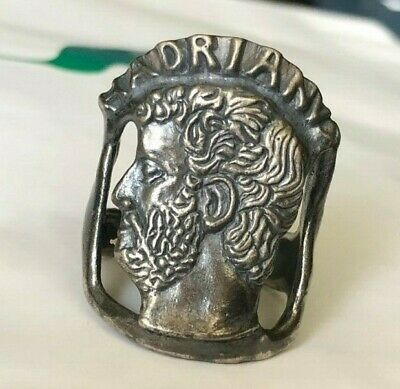 Very Fine Ancient Roman Silver Military Ring With Depiction Of Emperor Hadrian