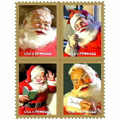 🎄2018 Sparkling Holidays(Coca-Cola Santa`s)USPS Forever 4~New Stamps Book of 20