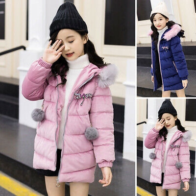 Kids Girls Thick Quilted Jacket Fur Collar Long Parka Coat Winter Warm Overcoat