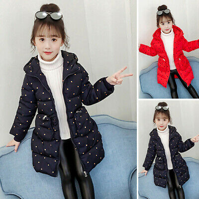 Girls Kid Padded Quilted Hooded Coat Jacket Polka Dot Thicken Parka Warm Outwear