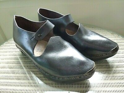 Original Antique Ethnic,Wooden / Leather, Horseshoe Soled Clogs, Clog Fighting?