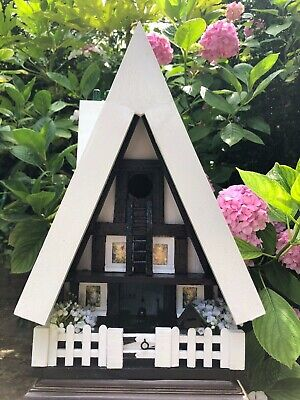 Beautiful Handmade Wooden Birdhouse - Bird House Nest - White Lodge