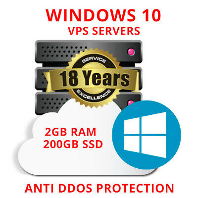 Windows 10 VPS (Virtual Dedicated Server) 2GB RAM +200GB SSD+UNMETERED TRAFFIC