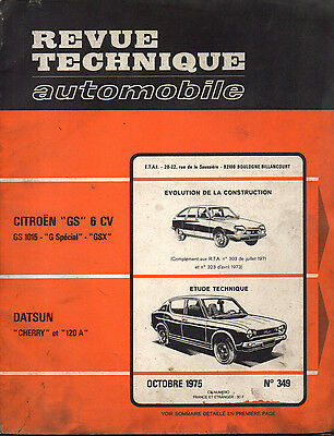 RTA revue technique automobile n° 349 DATSUN CHERRY 120 A 120A 1975