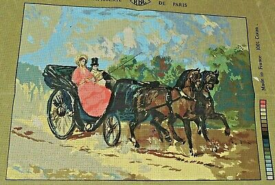 Big Tapestry Victorian Lady Gentleman Horse Carriage Unstarted Colour Canvas New