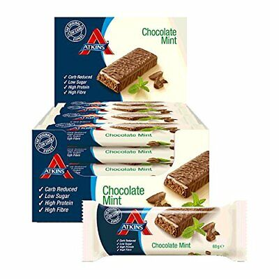 Atkins Low Carb High Protein Chocolate Mint Crunch Bars 16 x 60g BBE 21/11/19