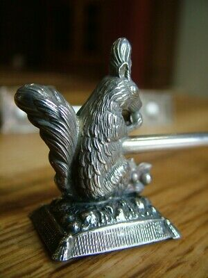 Unusual Victorian Novelty  Antique Squirrel Knife Rest Holders Silver Plate 554