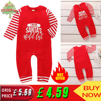 ✨✨ Baby Toddler Boys Girls Christmas Letter Long Sleeve Romper Jumpsuit Outfits