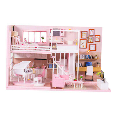 3D Wood Dollhouse Miniature Kit DIY House Kit with Furniture 1:24 Dream Girl
