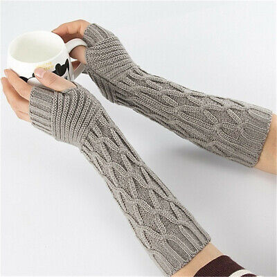 Warm Elastic Arm Warmers Candy Color Long Knitted Gloves Fingerless  Mittens