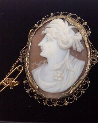 ANTIQUE VICTORIAN 9ct GOLD GODDESS Flora CARVED ITALIAN SHELL CAMEO BROOCH/PIN