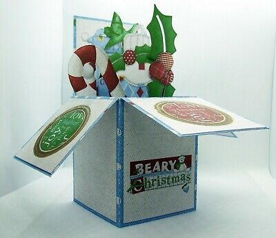 Beary Christmas 3D Decoupage Pop Up Box Christmas Card with Matching Envelope